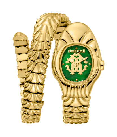 Roberto Cavalli Ladies Green MOP with GP Monogram Dial Watch