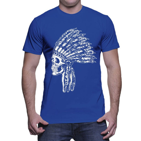 HAASE UNLIMITED Mens Indian, Native American Skull T-shirt