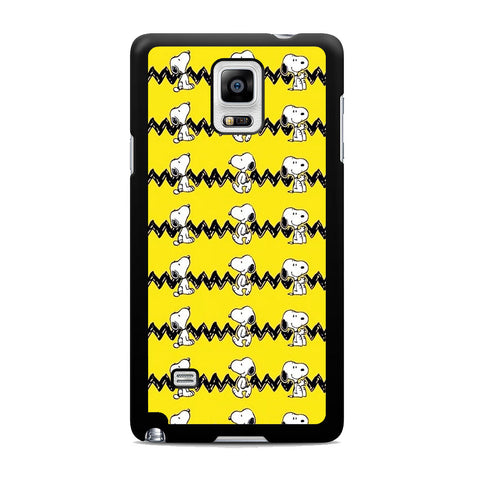 Snoopy Line Pattern Yellow Samsung Galaxy Note 4 Case