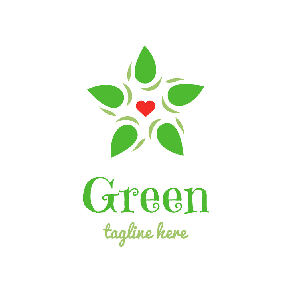 Green leafs and heart logo