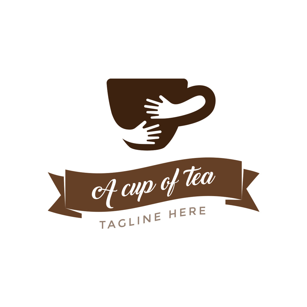 A cup of tea with hands logo design