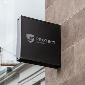 Protect shield with hug logo design