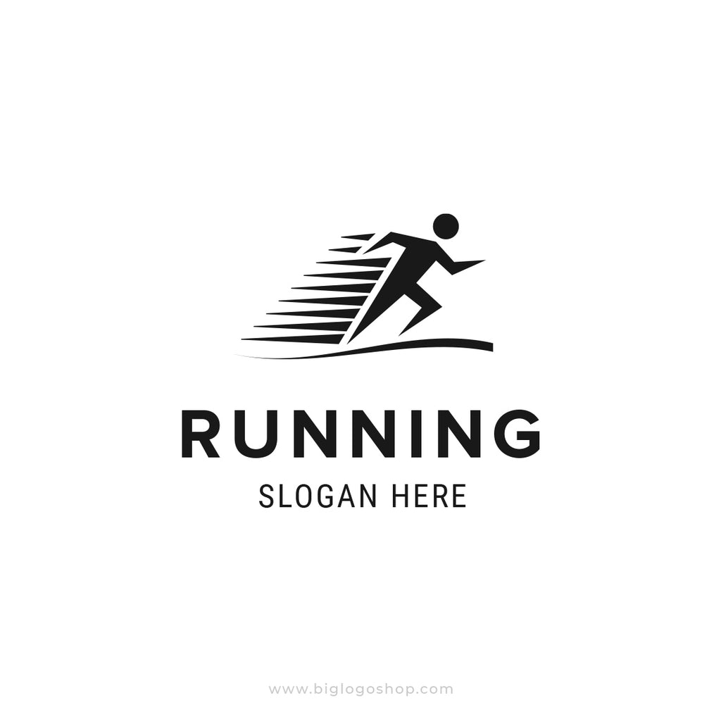 Fast running man logo template