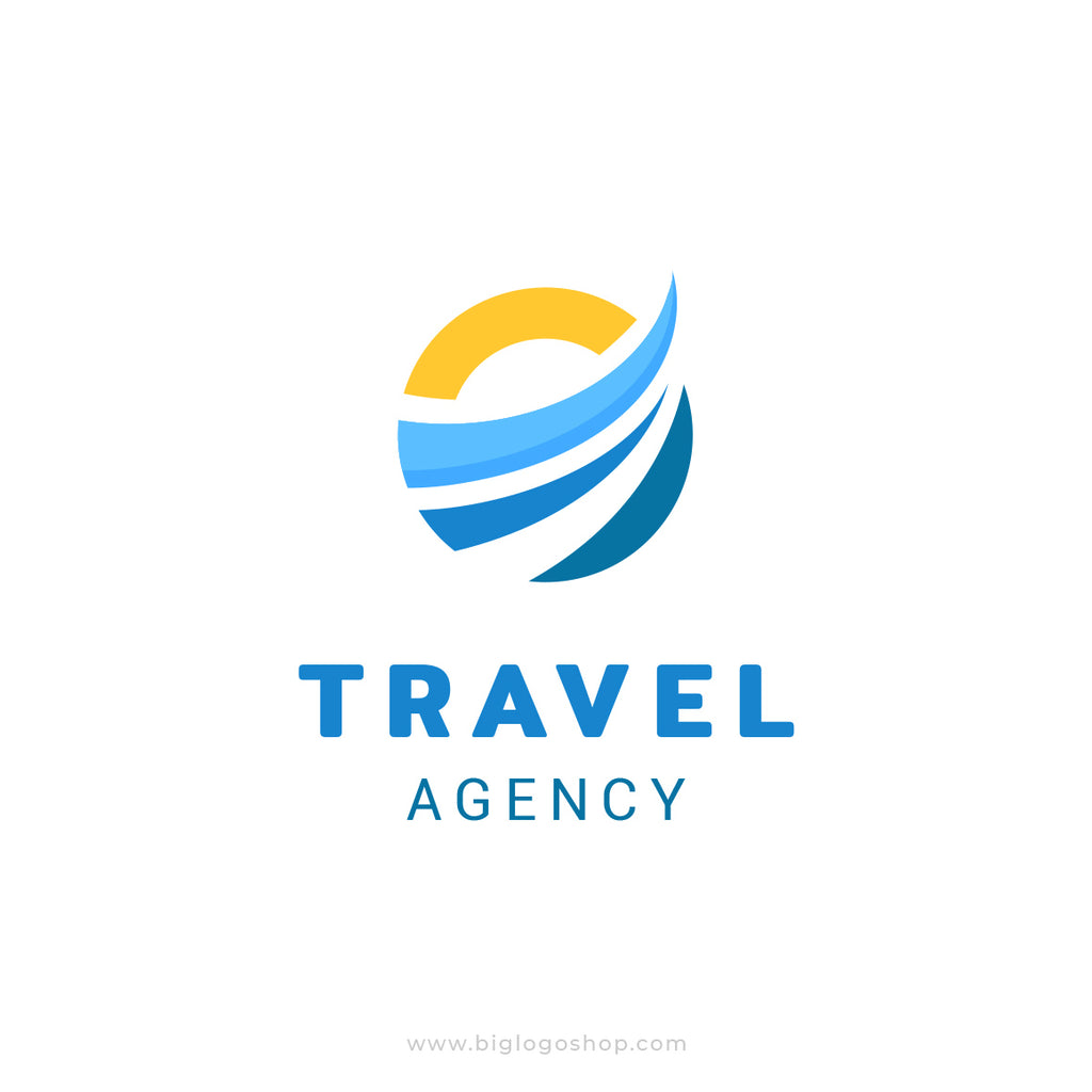Abstract Sun and Wave travel agency logo template