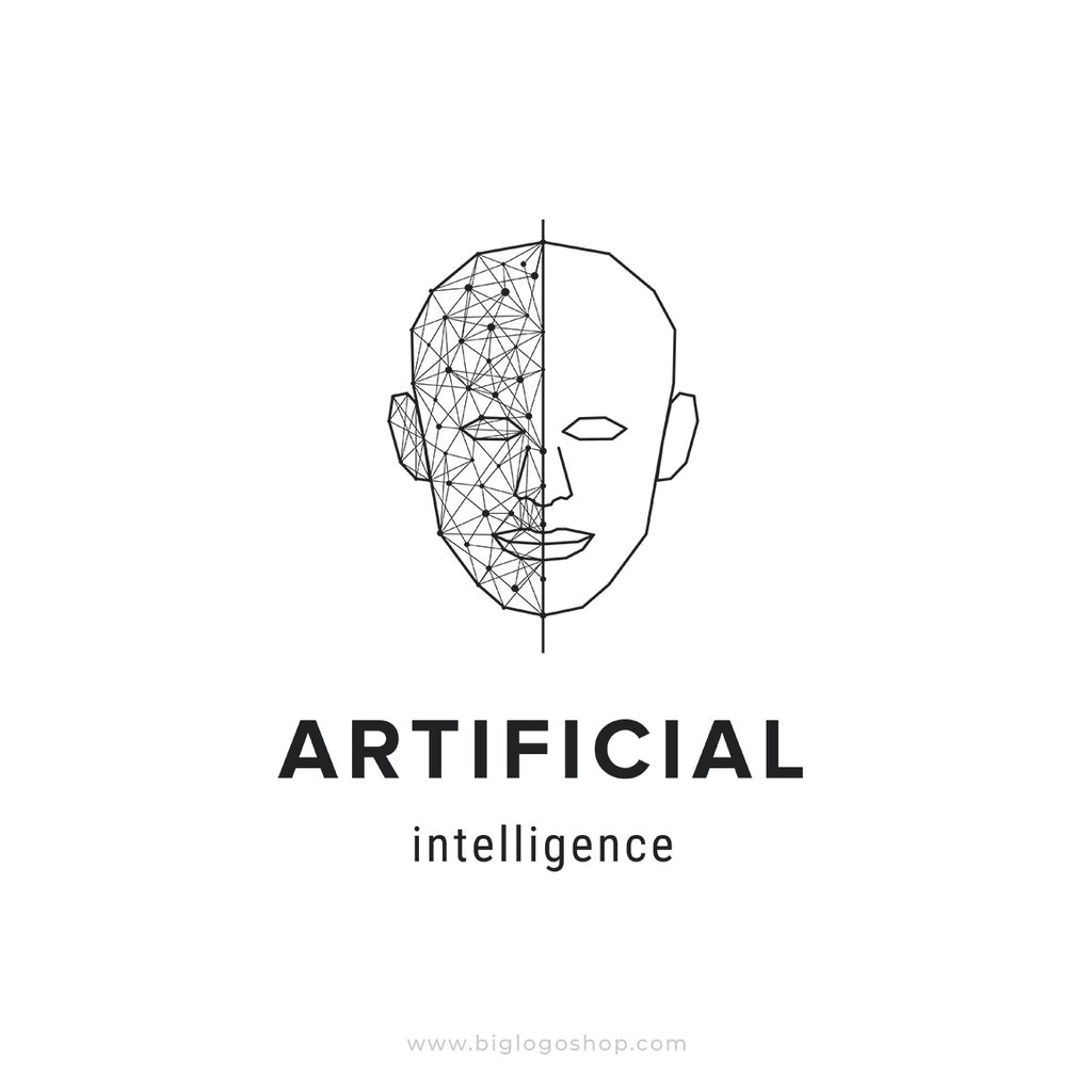 Artificial intelligence, futuristic human face logo