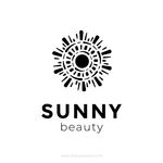 Sunny premium logo. Creative logo design isolated abstract shape black color. Sun logotype vector illustration. Trendy emblem design for cosmetics or beauty saloon.