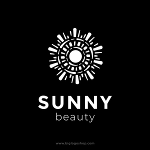 Sunny premium logo on black background. Creative logo design isolated abstract shape black color. Sun logotype vector illustration. Trendy emblem design for cosmetics or beauty saloon.