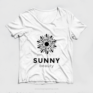Sunny premium logo. Creative logo design isolated abstract shape black color. Sun logo design vector illustration. Trendy emblem design for cosmetics or beauty saloon.