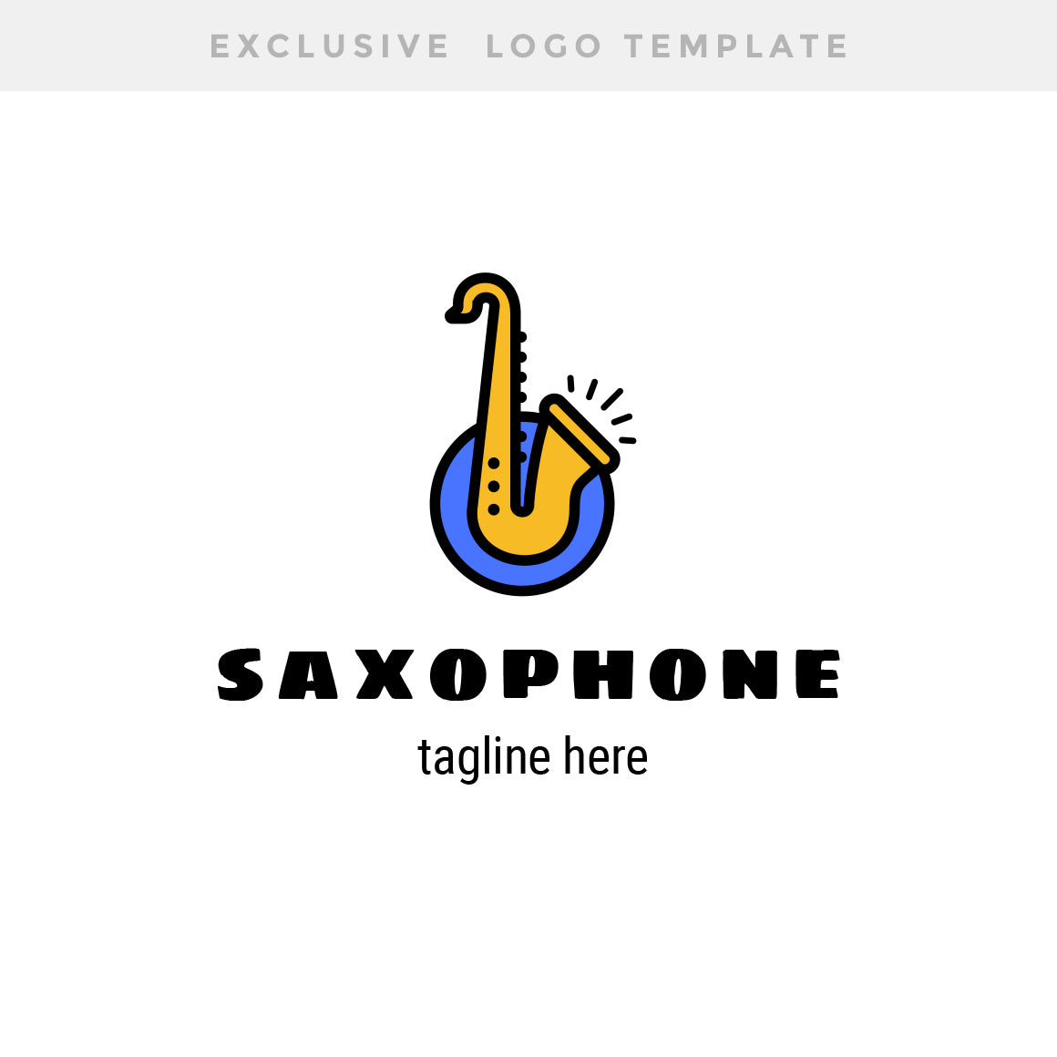 Saxophone Exclusive Logo Template