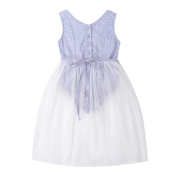 Evie playsuit - blue spot cotton voile