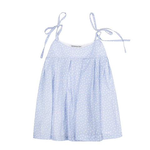 Mia pleated cami - blue spot cotton voile