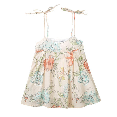 Mia pleated cami - floral cotton voile