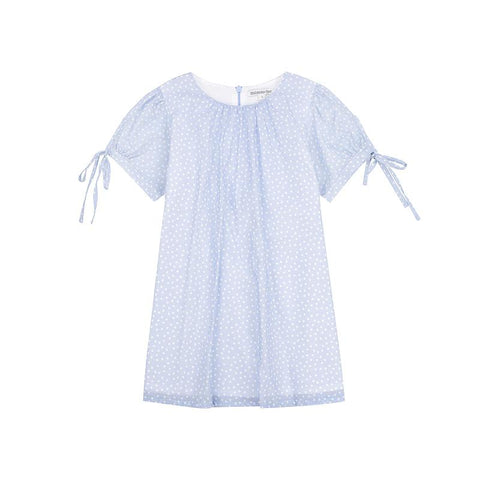 Minnie dress - blue spot cotton voile