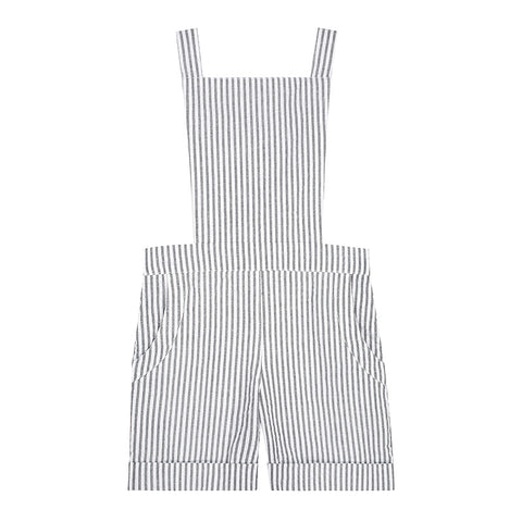 Pip shortalls - striped cotton seersucker