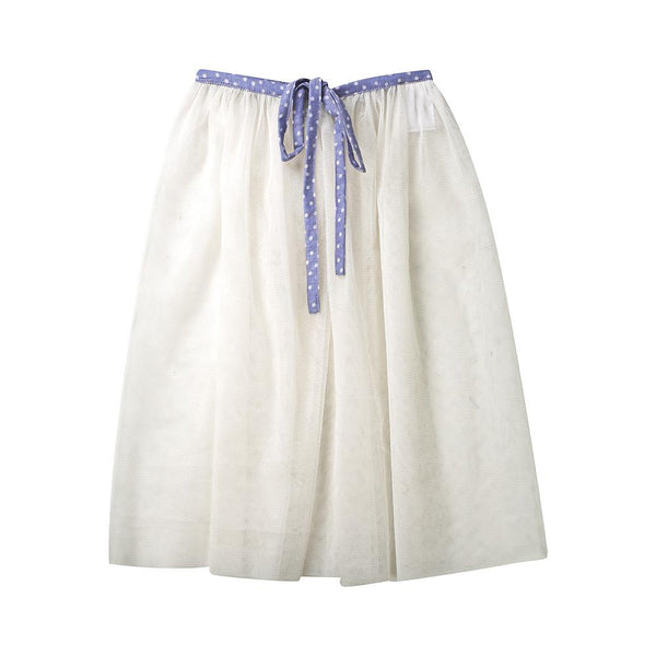 Tulle playskirt/cape (white/blue)