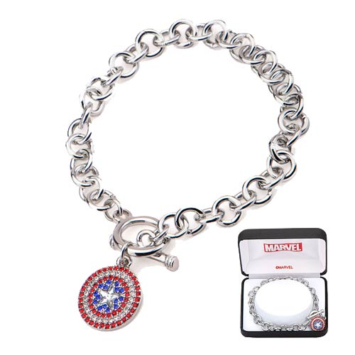 Captain America Shield Bling Gems Charm Bracelet