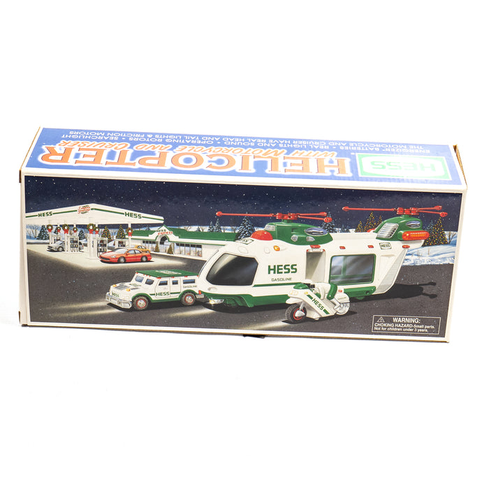 Hess 2001 Helicopter with Motorcycle & Cruiser