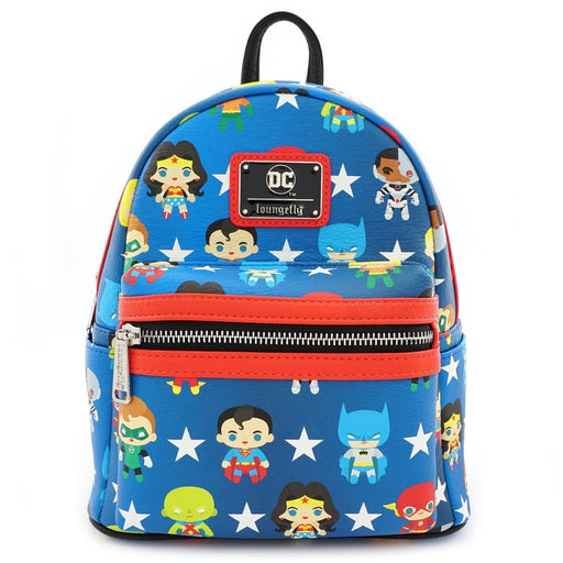Justice League Chibi Print Faux Leather Mini Backpack