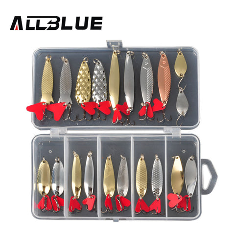 ALLBLUE Mixed Colors Fishing Lures Spoon Bait Metal Lure Kit iscas artificias Hard Bait Fresh Water Bass Pike Bait Fishing Geer