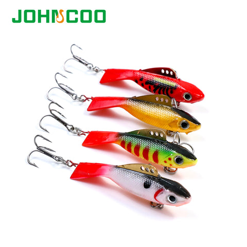 JOHNCOO 4pcs 12g 18g Fishing Lure winter Ice Fishing Hard Bait Minnow Pesca Tackle Isca Artificial Bait Soft Lead Fish Swimbait