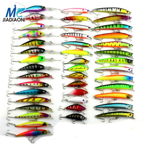 2017 Minnow JIADIAONI 43pcs/lot Fly Fishing Lure Set China Hard Bait Jia Lure Wobbler Carp 6 Models Fishing Tackle wholesale