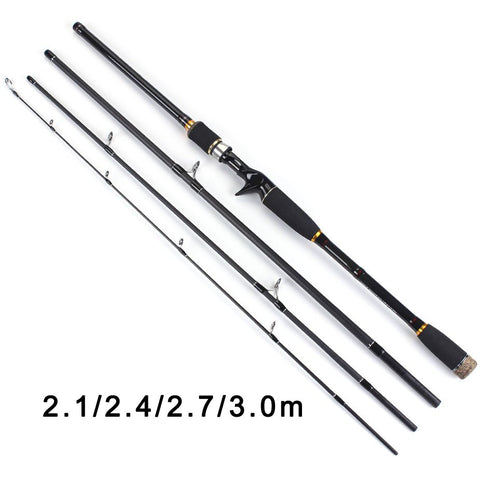 TOMA  2.1m 2.4m 2.7m 3.0m 100% Carbon Fiber Rod Spinning Fishing Rods Casting Travel Rod 4 Sections Fast Action Fishing Lure Rod