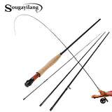 Sougayilang Fly Fishing Rod 9FT 2.7M 4 Section Fly Fishing Rod Line wt 5/6 Soft Cork Handle Fly Rod Lure Fishing Rod Tackle