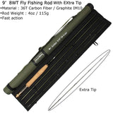 3/4/5/8 WT Fly Rod Fast Action 36T Carbon Fiber /Graphite IM10  7.5/8.3/ 9FT Fly Fishing Rod with Cordura Tube