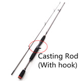 1.8m 2 Segments spinning/casting  M Power  line wt.6-15lb lure wt.1/8-3/4oz 99% Carbon Spinning Casting Lure Fishing Rod