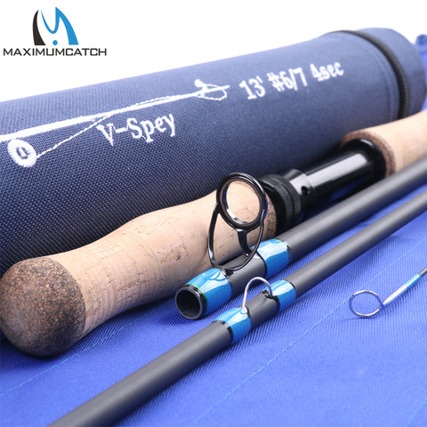 Maximumcatch Spey Fly Rod 12'6''/12'9''/13'/14' Fly Fishing Rod Medium-Fast Action With Cordura Tube Carbon Fly Rod