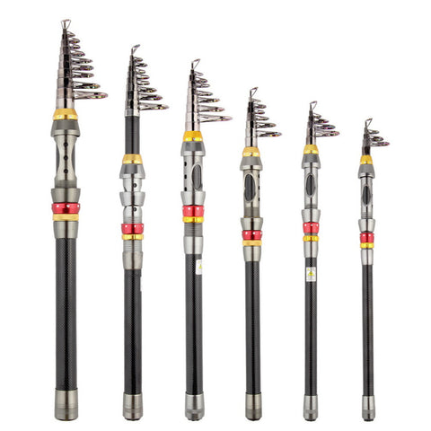 1pc Super Light Carbon Portable Telescopic Pole Saltwater Casting Spinning Fish Pole Hand Sea Fish Tackle