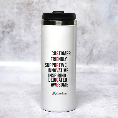 Personalised Customer Service Week Slim Travel Mug
