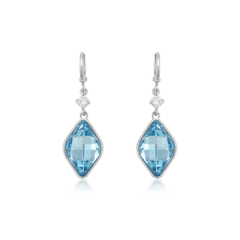 A pair of aqua blue swarovski earrings - purpink gifts
