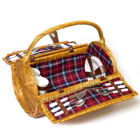 Willow Barrel Picnic Basket for 4 - Purpink Gifts