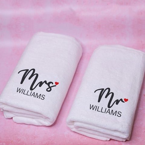 monogrammed set of 2 towels for a couple