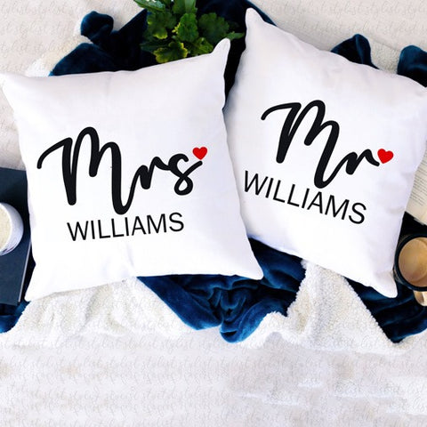 personalised set of 2 wedding pillows from Purpink Gifts