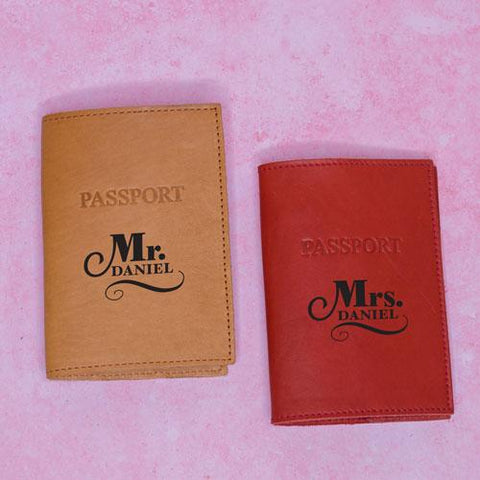 Personalised passport holders for the couple