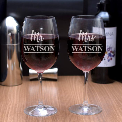 personalised set of 2 wine glasses from Purpink Gifts