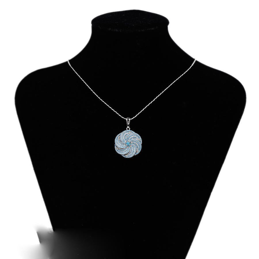 Elegant Lotus Blue Necklace