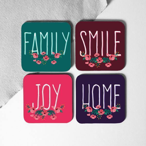 Smile Joy Coasters Set of 4