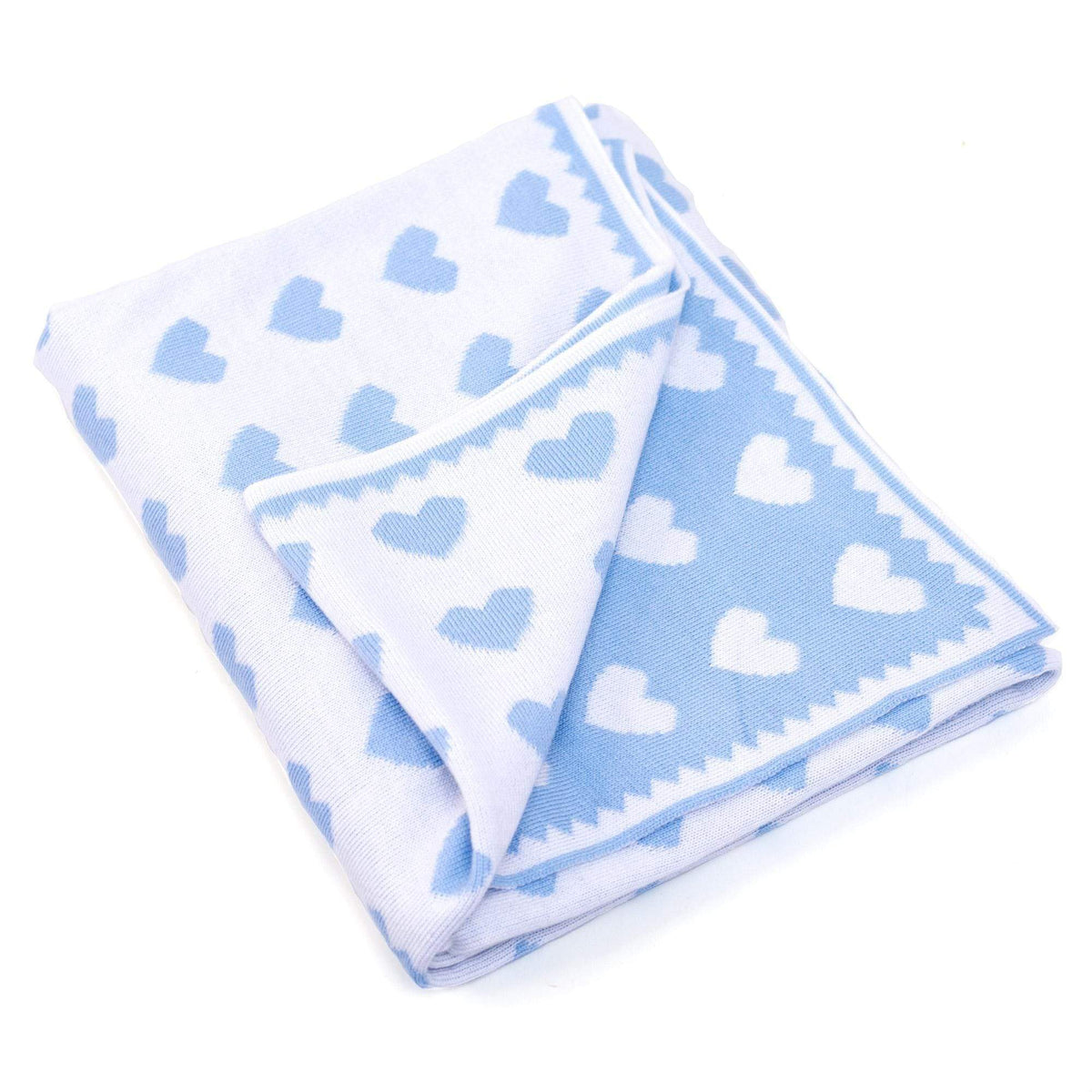 Baby Gift Blue baby blanket with hearts Blue Hearts Soft Baby Blanket