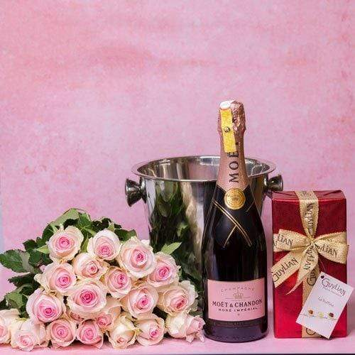 Lady Hampers Candy Pink Roses, Moet and Guylian Care Package