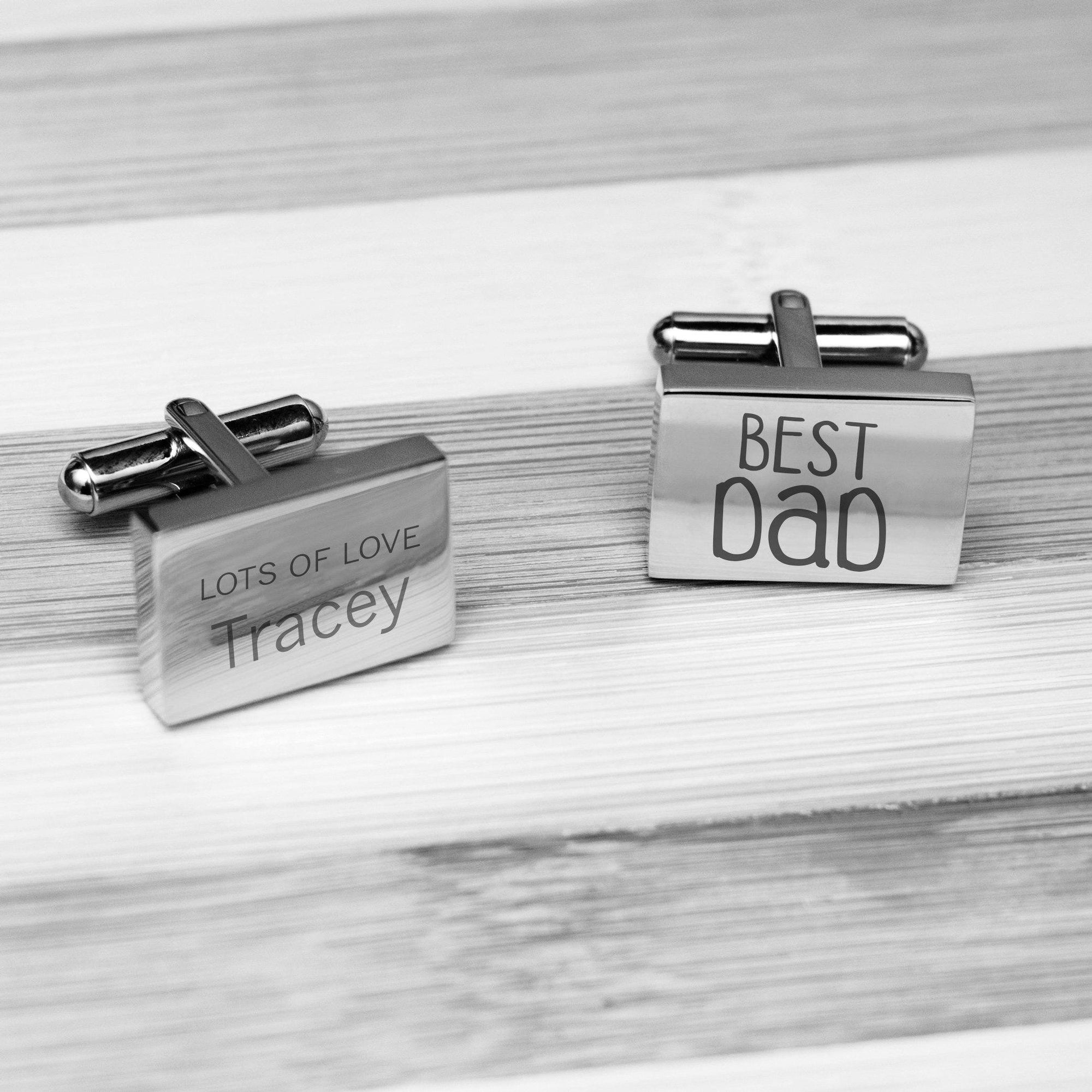 Accessories Engraved Rectangle Cufflinks - Best Dad