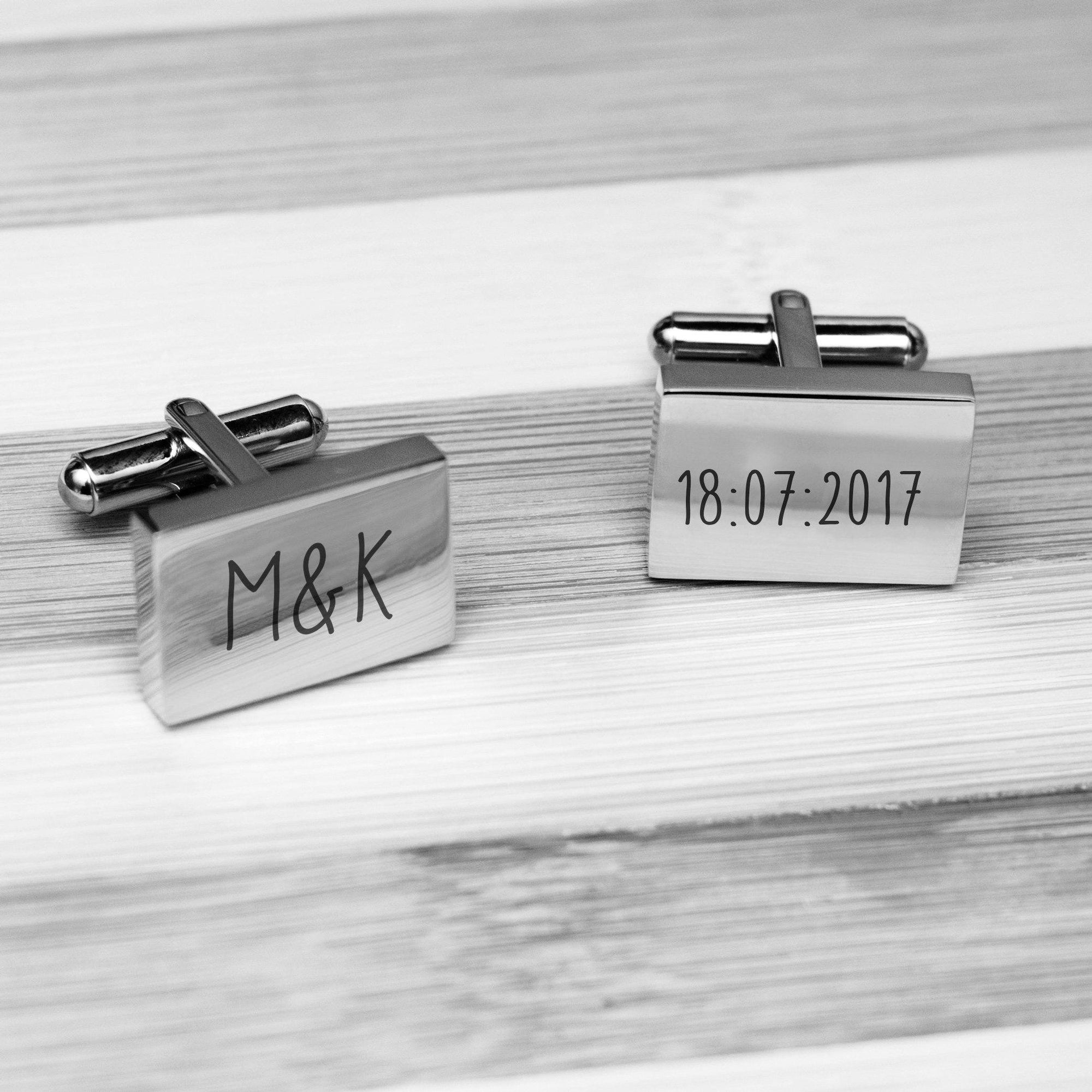 Accessories Engraved Rectangle Cufflinks - Our Special Day