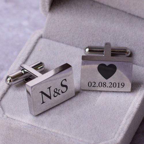 Accessories Engraved Rectangle Cufflinks - Our Wedding Day