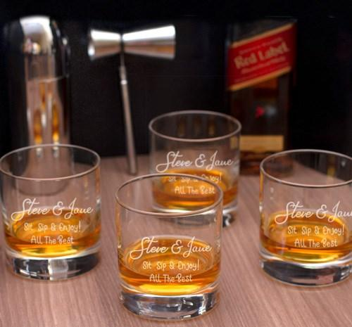 Personalized Engraved Set of 4 Stern Whiskey Glasses - New Couple