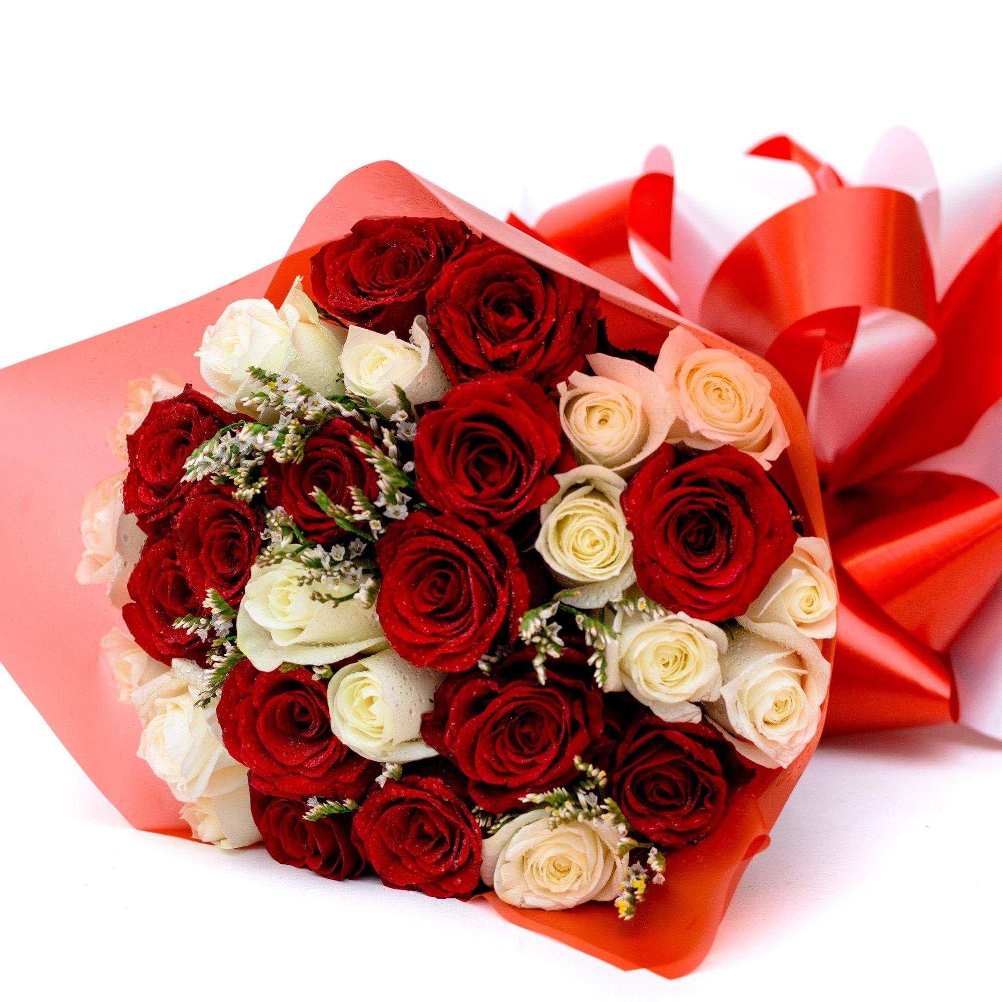 Flowers Exclusive Red & White Rose Bouquet