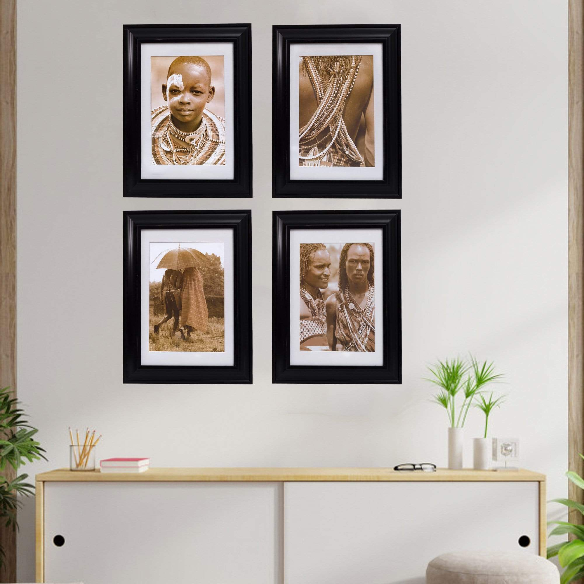 Wall Prints Fine African Framed Art Prints, Set of 4
