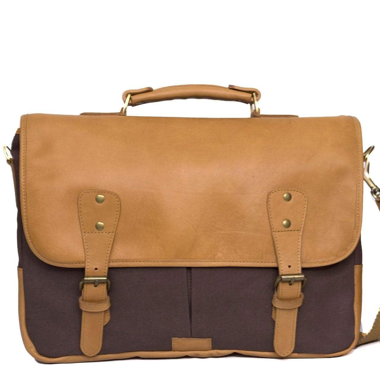 Leather Genuine Leather Canvas Briefcase