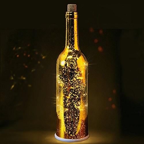 HomeGifts Led Speckled Glass Gold Bottle